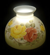 "USA 10"" Opal Glass Hand Painted Victorian Roses Scene Student Oil Lamp Shade"