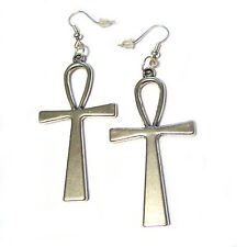 "Big Egyptian 3D Ankh Silver Plated Charm French Hook 2"" Earrings"