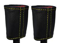 Cuciture giallo 2x ANTERIORE Cintura di sicurezza in pelle copre adatta FORD FOCUS C-MAX 03-07