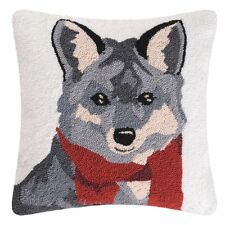 "Welcome Friends Hooked Fox Toss Pillow 18""Square,Fox with Red Scarf,Throw Pillow"