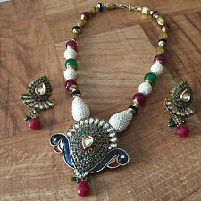 Indian Pakistani Ethnic White Pearl Moti Beaded Peacock Necklace Pendant Earring