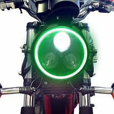Black LED Headlight with Green Angel Eye Halo Ring Motorcycle Cafe Racer Project
