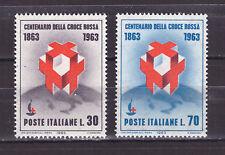 FRANCOBOLLI Italia 1963 Centenario Fondazione Croce Rossa 30 e 70 lire MNH**