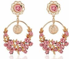 ZARA BAROQUE STYLE PINK FLOWERS DROP DANGLE STATEMENT EARRINGS NEW