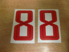 2x GUY MARTIN race number 8 - RED Stickers / Decals  - 65mm