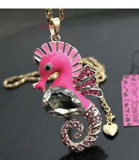 Cute NWT Betsey Johnson Necklace Pink Gold Sparkles Seahorse Summer