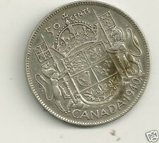 1940   CANADA 80% SILVER 50 CENT WWII Coin