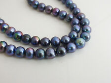 "Peacock Freshwater Potato Pearl Beads 8-9mm 15"" Strand (approx 50 pearls)"