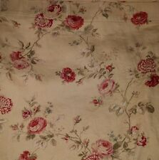 WAVERLY Sonata Fabric Cotton Shower Curtain Floral Gold Red Tea Stained Rose