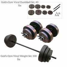 Weight Barbell Dumbell Set Vinyl 100 Lbs & 40 Lbs PLates Weightlifting Training