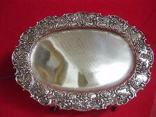 197 g Große Schale Tablett Silber Rosen 800 Teller Korbrand Dresden