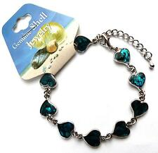 **BEAUTIFUL BLUE PAUA SHELL CURVED HEARTS BRACELET **
