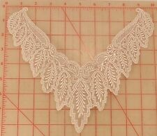 4 vintage white embroidered lace appliques hanging leaves & flowers design 10""