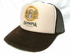 Vintage Olympia Beer Trucker Hat Mesh Hat Snap Back Hat *NEW* Tan/brown