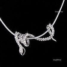 18K WHITE GOLD PLATED DIAMANTE 3D SNAKE PENDANT NECKLACE USE SWAROVSKI CRYSTALS