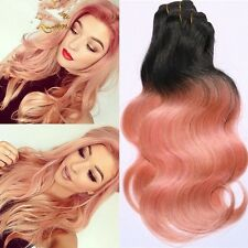 300g/3bundles rose gold ombre brazillian virgin human hair uk 10,12,14inches