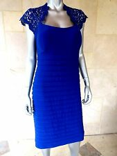 $209 Xscape Womens Royal Blue Matte Jersey Metallic Party Cocktail Dress Sz 14W