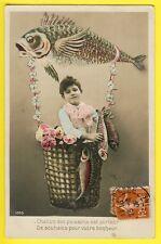 cpa SURREALISM Enfant POISSON d'AVRIL BALLON DIRIGEABLE Souhait de Bonheur 1909