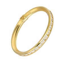 SOLID 14K Yellow GOLD  WEDDING MAN MADE ETERNITY BAND RING Thin Design