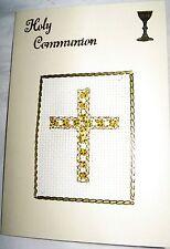 """COMUNIONE CARD completata PUNTO CROCE-Cross con Perline 6x4"""""""