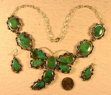 NAVAJO Jon McCRAY DRAGONFLY NECKLACE & Earrings, Sterling, Turquoise, HUGE