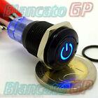 INTERRUTTORE a PULSANTE 16mm SIMBOLO ON ILLUMINATO SPDT LED BLU 12V DC DEVIATORE
