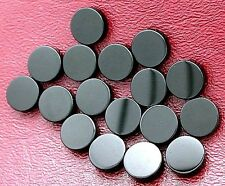 THREE 10mm Flat Top Round Black Onyx Cab Cabochon Gem Stone Gemstone boc92