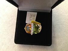 14K YELLOW GOLD RING HALF MOON SHAPED WITH CITRINE,PERIDOT AND DIAMOND