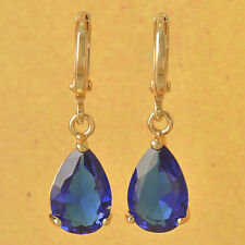 New 9K Yellow Gold Filled Sapphire Blue CZ Pear Shaped Tear Drop Dangle Earrings