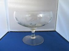 Lead Cut Crystal Footed Pedestal Compote Candy Dish Etched Flowers