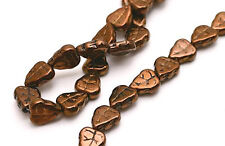 25 Dark Bronze Czech Glass Leaf Beads 10MM