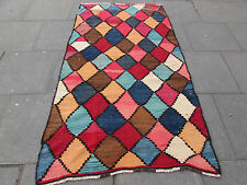 Old Traditional Hand Made Persian Oriental Kilim Rug Wool Colourful 225x125cm