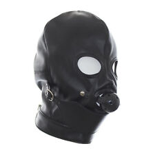 Soft PU Leather Gimp Hood Eyes Open Mask With Mouth Ball Gag bondage Fetish