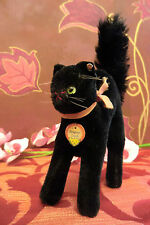 STEIFF 7314,00 black SCARY TOM CAT 14/19 cm Button Breasttag 50ies VGC Halloween