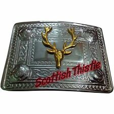 Men's Scottish Kilt Belt Buckle Stag Head Chrome & Gold/Stag Head Kilt Buckles
