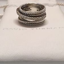 David Yurman Wide Crossover Ring in Sterling Silver with Diamonds Size 6.5