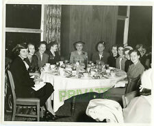 1952 Studio Photo - Group of Smiling Young Ladies at Dinner Table - Chicago