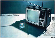 Publicité Advertising 1968 (2 pages) Téléviseur télévision portable Philips