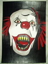 Paper Painting Stephen Kings IT Pennywise The Clown Teeth Art 16x12 inch Acrylic