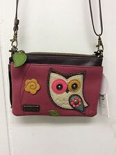 Chala Colorful Owl Dark Pink Mini Crossbody Bag Small Convertible Purse New