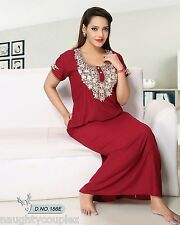 Daily Night Wear Cotton Blended Nightie Womens Gown New 186E Maroon Maxi Lounge