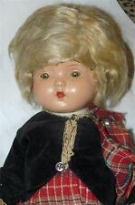 VINTAGE 1930'S COMPOSITION DOLL ORIGINAL SCOTTISH OUTFIT TIN EYES MOHAIR WIG 16""