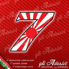 Adesivo Stickers NUMERO 7 moto auto cross gara JAPAN 10 cm