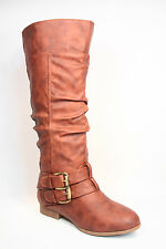 Women's Fashion Low Flat Heel Mid-Calf  Knee High Riding Boot Shoes Size 5 -10