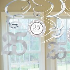 25TH SILVER WEDDING ANNIVERSARY PACK OF 12 SWIRL DECORATIONS
