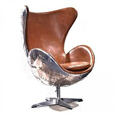 Leather jump seat aviator Chair Old vintage cigar brown office desk aluminum