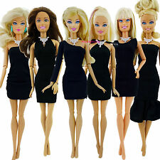 6 MIni Dress Skirt + 6 Necklace Outfit Fashion Formal Clothes For Barbie Doll UB
