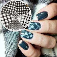 BORN PRETTY Nail Art Stamping Template Image Plate Checked Design 5.5cm 09