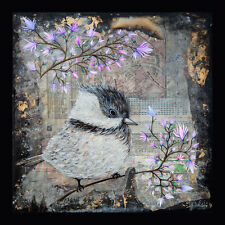 Bird / Original Painting by Xenia Hahonina / 29.8cm x 29.8cm / Pink Blossom