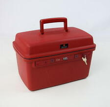 Vtg 90s DELSEY CLUB Red Makeup Vanity Luggage Lock Travel Box Tackle Utility Bag
